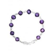 Cushion Shape Purple Amethyst Link Chain Sterling Silver 18 Cts Bracelet