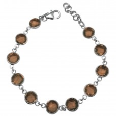 Round Brown Smokey Quartz Hammered Style Sterling Silver 18 Cts Bracelet