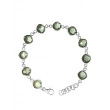 Cushion Shape Green Amethyst Link Chain Sterling Silver 18 Cts Bracelet