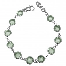 Round Green Amethyst  Hammered Style Sterling Silver 18 Cts Bracelet