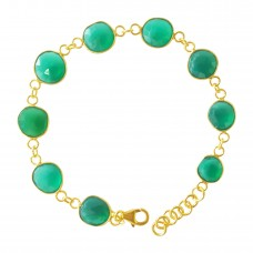Round Green Onyx Link Chain Sterling Silver 25 Cts Bracelet