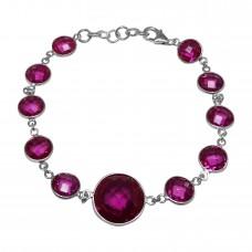 Round Dark Pink Sapphire Link Chain Sterling Silver 18 Cts Bracelet