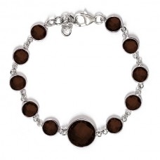 Round Brown Smokey Quartz Hammered Style Sterling Silver 25 Cts Bracelet