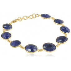 Oval Blue Sapphire Link Chain Sterling Silver 65 Cts Bracelet