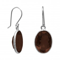 Oval Brown Smokey Quartz Ear Wire 10 Cts Hammered Style Dangle Earrings