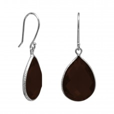 Pear Shape Brown Smokey Quartz Ear Wire 14 Cts Hammered Style Dangle Earrings