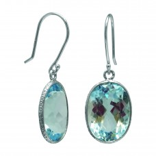 Oval Blue Topaz Ear Wire 14 Cts Hammered Style Dangle Earrings