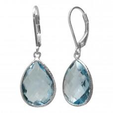Pear Shape Blue Topaz Ear Wire 19 Cts Hammered Style Dangle Earrings
