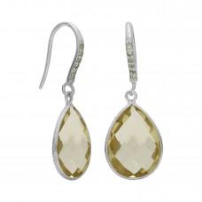Pear Shape Yellow Citrine Ear Wire 13 Cts Dangle Earrings
