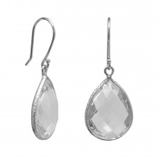 Pear Shape White Crystal Ear Wire 14 Cts Hammered Style Dangle Earrings