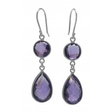 Multi Shape Purple Amethyst Ear Wire 13 Cts Dangle Earrings