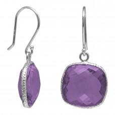 Cushion Shape Purple Amethyst Ear Wire 12 Cts Hammered Style Dangle Earrings