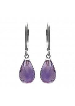 Pear Shape Purple Amethyst Lever Back 10 Cts Tear Drop Style Earrings