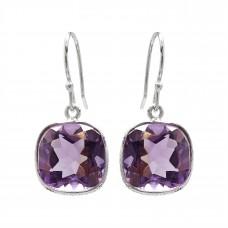 Cushion Shape Purple Amethyst Ear Wire 10 Cts Hammered Style Dangle Earrings
