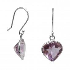 Heart Shape Purple Amethyst Ear Wire 5 Cts Dangle Earrings