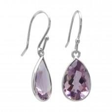 Pear Shape Purple Amethyst Ear Wire 5 Cts Dangle Earrings