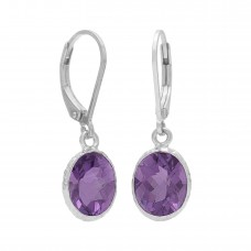 Oval Purple Amethyst Lever Back 6 Cts Dangle Earrings