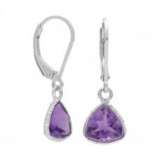 Triangle Shape Purple Amethyst Lever Back 5 Cts Dangle Earrings
