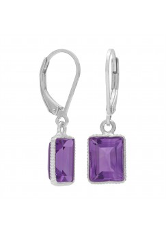 Octagon Shape Purple Amethyst Lever Back 5 Cts Dangle Earrings