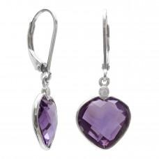 Heart Shape Purple Amethyst Ear Wire 8 Cts Dangle Earrings