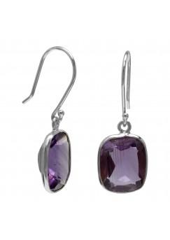 Octagon Shape Purple Amethyst Ear Wire 7 Cts Dangle Earrings