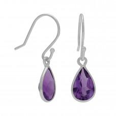 Pear Shape Purple Amethyst Ear Wire 1 Cts Dangle Earrings
