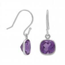 Cushion Shape Purple Amethyst Ear Wire 2 Cts Dangle Earrings