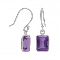 Octagon Shape Purple Amethyst Ear Wire 2.5 Cts Dangle Earrings
