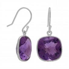 Cushion Shape Purple Amethyst Ear Wire 11 Cts Dangle Earrings