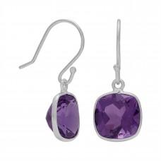 Cushion Shape Purple Amethyst Ear Wire 5 Cts Dangle Earrings
