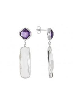 Multi Shape Multicolor Multistone Push Back 34.4 Cts Dangle Earrings