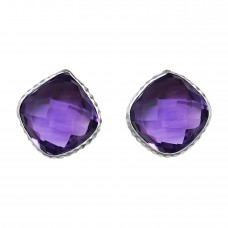 Cushion Shape Purple Amethyst Push Back 12 Cts Stud Earrings