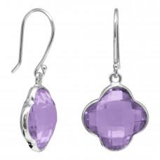 Clover Shape Purple Amethyst Ear Wire 10 Cts Dangle Earrings