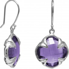 Clover Shape Purple Amethyst Ear Wire 11 Cts Four Leaf Style Earrings