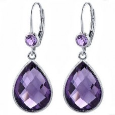 Multi Shape Purple Amethyst Lever Back 14 Cts Hammered Style Dangle Earrings