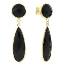 Multi Shape Black Onyx Push Back 32 Cts Dangle Earrings