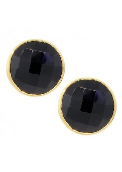 Round Black Onyx Push Back 9 Cts Stud Earrings