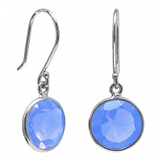 Round Blue Agate Ear Wire 5 Cts Dangle Earrings