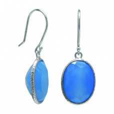 Oval Blue Agate Ear Wire 11 Cts Hammered Style Dangle Earrings