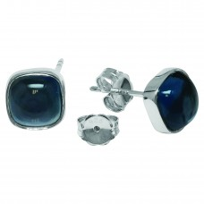 Cushion Shape Blue London Topaz Push Back 7 Cts Stud Earrings