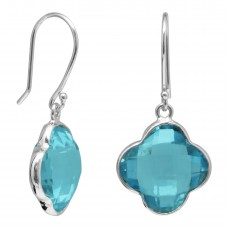 Clover Shape Blue Topaz Ear Wire 13 Cts Dangle Earrings