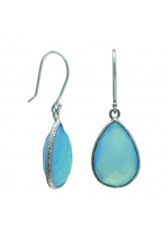 Pear Shape Blue Agate Ear Wire 10 Cts Hammered Style Dangle Earrings