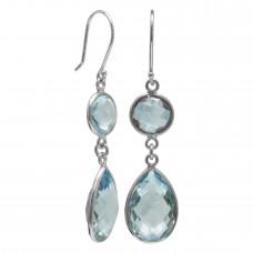 Multi Shape Blue Topaz Ear Wire 18 Cts Dangle Earrings