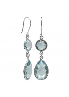 Multi Shape Blue Topaz Ear Wire 18 Cts Dangle Earrings