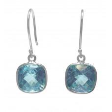 Cushion Shape Blue Topaz Ear Wire 6 Cts Dangle Earrings
