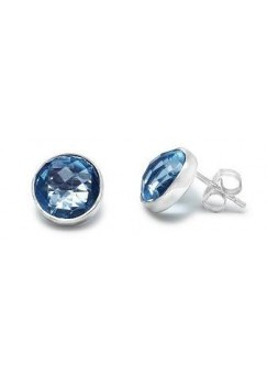 Round Blue Topaz Push Back 14 Cts Stud Earrings