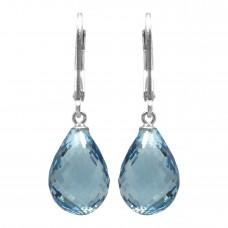 Pear Shape Blue Topaz Lever Back 24 Cts Tear Drop Style Earrings