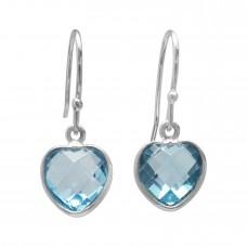 Heart Shape Blue Topaz Ear Wire 5 Cts Dangle Earrings