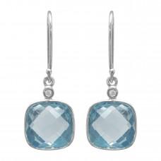 Cushion Shape Blue Multistone Ear Wire Topaz 10CTS, Diamond 0.03CTS Cts Dangle Earrings