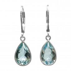 Pear Shape Blue Topaz Ear Wire 6 Cts Dangle Earrings